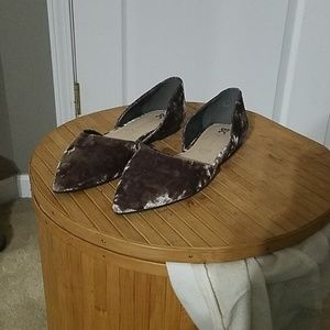 Gray Velvet Pointed Toe Flats - Size 7.5